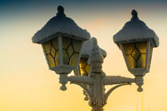 Three Frosty Lanterns. The coldness of the winter froze the lanterns up. The mid-winter can be quite cold in the Northern Finland stock image