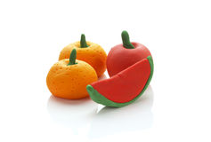 Three fruit from clay Stock Photography