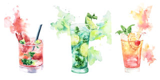 Three fruit cocktail with splashes of watercolor Stock Images