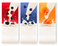 Three fruit and milk banners. Royalty Free Stock Images