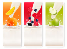 Three fruit and milk banners. Royalty Free Stock Photo
