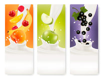 Three fruit and milk banners. Stock Images