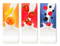 Three fruit and milk banners. Royalty Free Stock Image