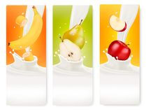 Three fruit and milk banners. Stock Image