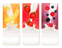 Three fruit and milk banners. Royalty Free Stock Photography