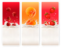 Three fruit and milk labels. Royalty Free Stock Image
