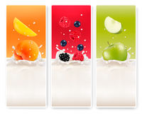 Three fruit and milk labels. Royalty Free Stock Photos