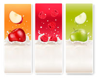 Three fruit and milk labels. Royalty Free Stock Images