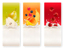 Three fruit and milk labels. Stock Photo