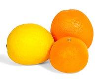 Three fruit. Orange, tangerine, lemon yellow isolated on white background Royalty Free Stock Photos