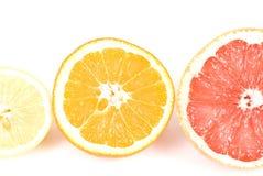 Three Fruits. Three natural fruits on white background Stock Photo