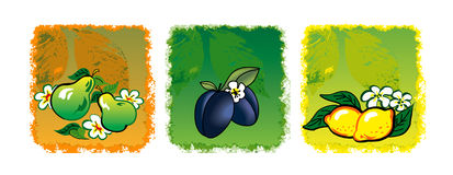 Three fruits. Three  fruits (pear, plum, lemon Royalty Free Stock Photos