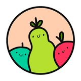 Three fruits apple pear and watermelon hand drawn illustration logotype royalty free illustration