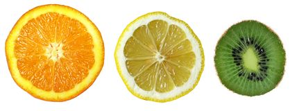 Three fruits: Orange, Lemon, Kiwi Stock Images