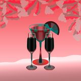 Three full wine glasses on a hot pink background. For a romantic party. Vector illustration. An evening cocktail. Stylized framing leaves. For a bar, restaurant stock illustration