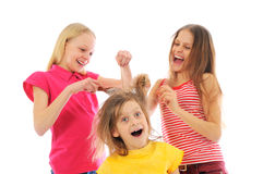 Three fun girls playing Stock Photography