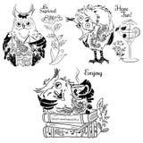 Three fun owl black and white drawing. Three fun owl and flowers black and white drawing Royalty Free Stock Image
