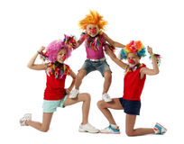 Three funny active clowns. Three  clowns isolated on white Stock Photography