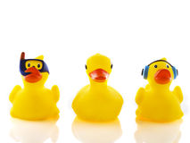 Three funny bath ducks. Three yellow bath ducks in a funny way Royalty Free Stock Images