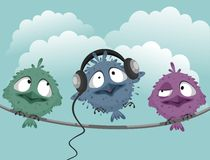 Three funny birds. On a wire Stock Photography