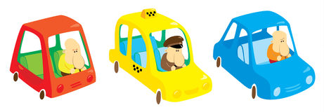 Three funny cars. Three cars with fun drivers Royalty Free Illustration