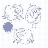 Three funny cartoon sheep. Doodle set, sketch,  illustrati Stock Photography