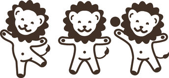 Three funny cartoon young lions having fun and fooling around. Royalty Free Stock Images
