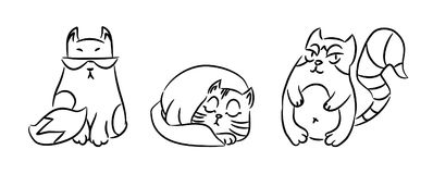 Three funny cats. Black outline. Simple vector illustration Royalty Free Stock Photo