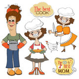 Three funny cooks items set Stock Photo