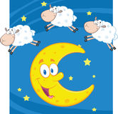 Three Funny Counting Sheep Over A Moon Stock Photos