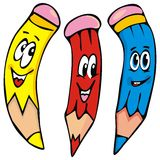 Three funny crayons, vector icon Royalty Free Stock Images