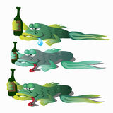 Three funny drunken fishes with bottle Royalty Free Stock Images
