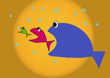 Three funny fish. In the sunsihne vector illustration