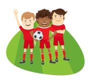 Three Funny football soccer players team standing on grass field. Three Funny football soccer players team standing on the soccer grass field with football ball stock illustration