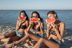 Three funny girls in jean shorts and black bras are sitting on the sand near the sea and holding watermelon slices near royalty free stock image