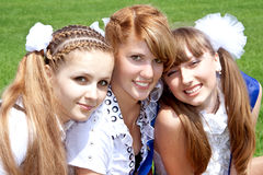 Three funny graduates Royalty Free Stock Photo
