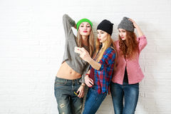 Three Funny Hipster Girls Taking Selfie Royalty Free Stock Image