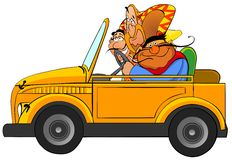 Three funny mexicans in the car. Stock Photo