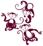 Three funny monkeys. Symbol of 2016. Three funny monkeys Stock Photos
