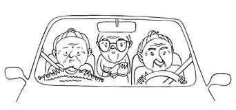 Three funny old ladies in a car. Vector isolated hand drawn contour illustration.  Stock Photos