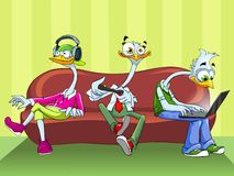 Three funny ostrich on the sofa. Three funny ostrich with headphones, remote control and laptop sitting on the sofa Royalty Free Stock Photos