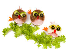 Three funny  sandwich for child. Stock Images