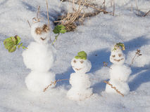 Three funny snowman Stock Photos