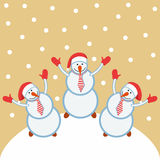 Three funny snowmen happy. Three funny cheerful snowman rejoice and dance Stock Images