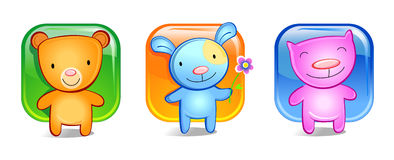 Three funny toy animals. Cheerful cat, bear and the rabbit. A computer Illustration, animal-toys for children Royalty Free Stock Images