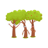 Three funny tree characters talking, sad, hussing,garden, love, friendship concept. Three funny comic tree characters talking, sad, hussing,garden, love Royalty Free Stock Photo