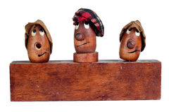 Three Funny Wooden Heads Royalty Free Stock Photos