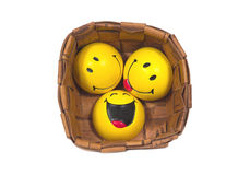 Three funny yellow balls in braided pannier. Funny yellow balls in braided pannier Royalty Free Stock Photo