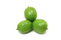 Three fused unripe walnuts Royalty Free Stock Images