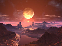 Three Futuristic Towered Cities with Moon at Sunse Stock Photo